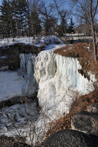 Minnehaha Falls in Minneapolis. Frozen. Polar vortex? It does this every year.